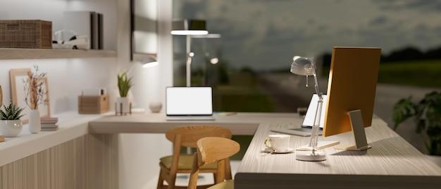 Современное рабочее место в стильном доме с двумя макетами ноутбуков и компьютером на деревянном столе 3d-рендеринга
