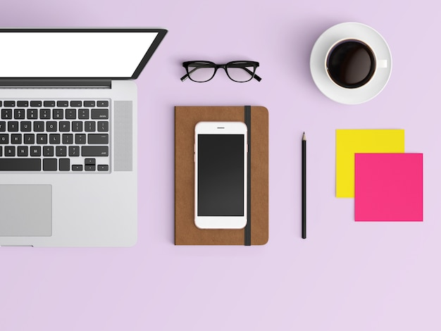 modern workplace. top view. flat lay style.