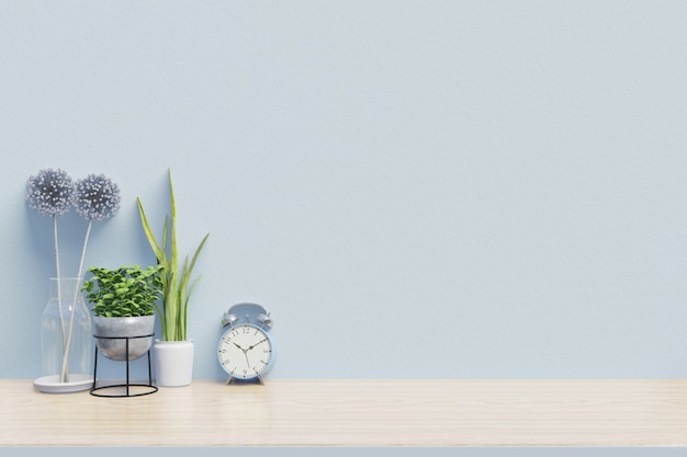 Modern workplace with creative desk with plants have blue wall,3d rendering