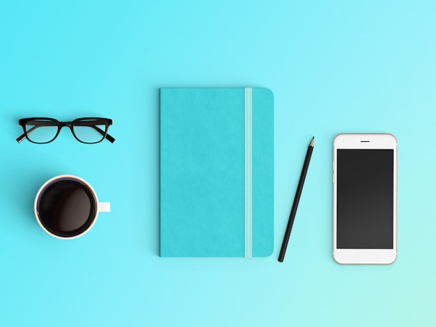 modern workspace. top view. flat lay style.