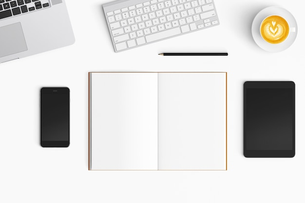 Modern workspace on white background. top view. flat lay style.