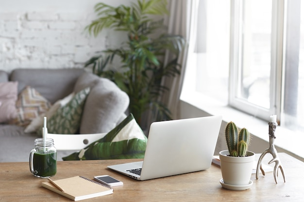 A modern workspace with bright ambient