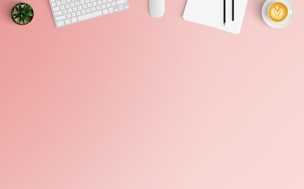 Modern workspace with coffee cup, papers and keyboard on pink color