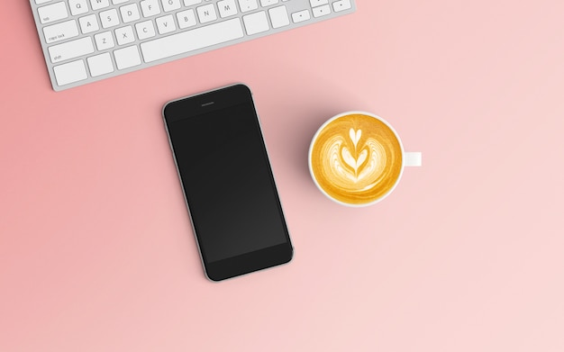 Modern workspace with coffee cup and smartphone on pink color