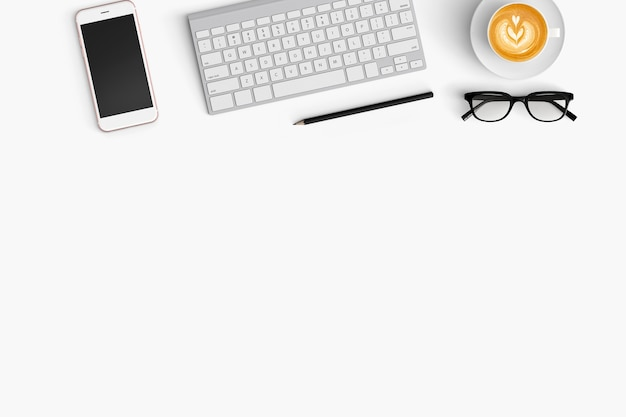 Modern workspace with copy space on white color background