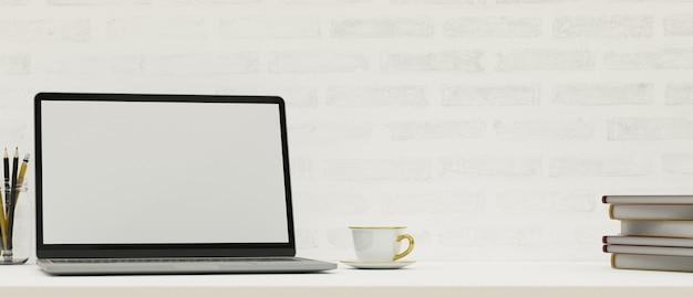 Современное рабочее пространство с копией пространства для макета ноутбука на белом столе, белая кирпичная стена, 3d-рендеринг