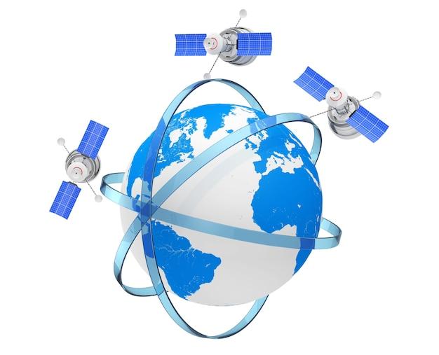 Спутник современной мировой глобальной навигации в эксцентрических орбитах вокруг земного шара на белом фоне. 3d рендеринг