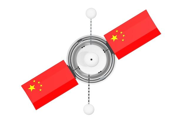 Спутник глобальной навигации в современном мире с флагом китая на белом фоне. 3d рендеринг