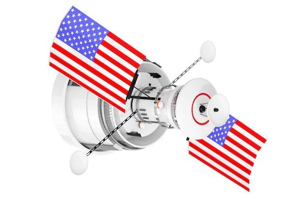 Спутник современной мировой глобальной навигации с флагом сша на белом фоне. 3d рендеринг