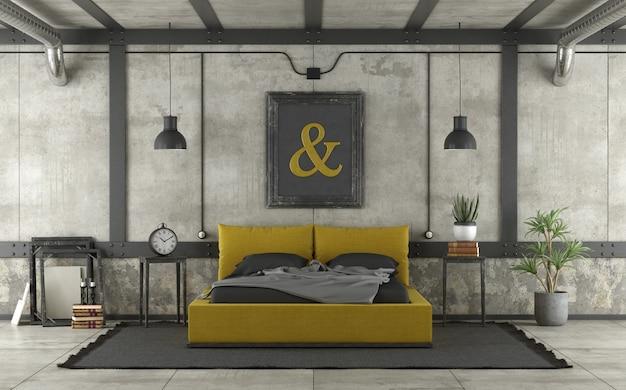 Современная желто-черная кровать в мансарде
