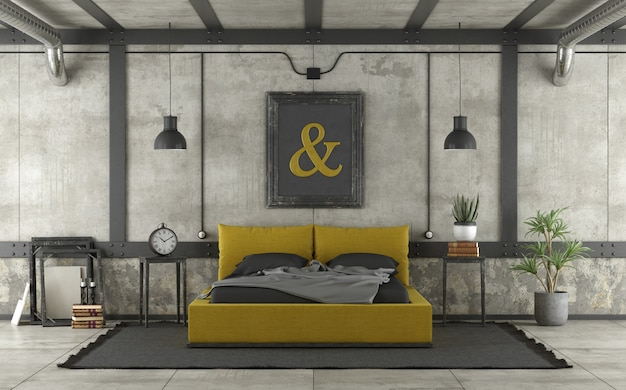 Modern yellow and black bed in a loft