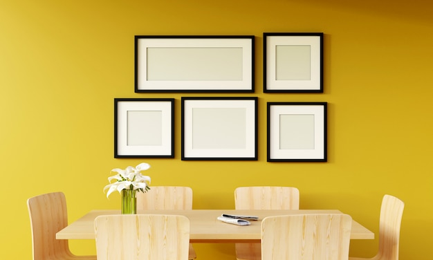 Modern yellow living room with sofa and furniture and group of picture frame on the wall. 3d render.