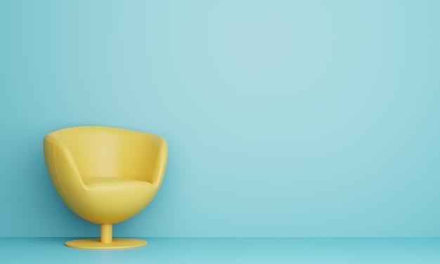 水色のリビングルームでモダンな黄色のソファ。 3dレンダリング。