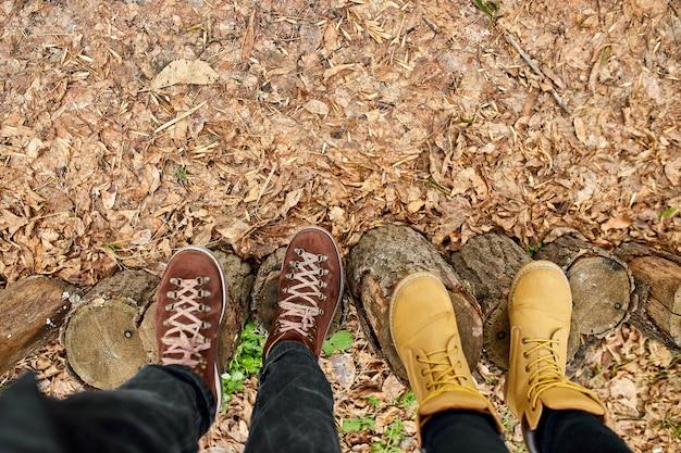 현대 젊은 부부는 숲의 낙엽에 있는 나무 그루터기에 등산화, 야외 여행 개념, 꼭대기 전망, 영원히 사랑, 발렌타인 데이, 복사 공간.