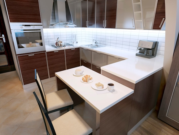 Modern zebrano fasade kitchen design and elegant kitchen with breakfast bar and chairs