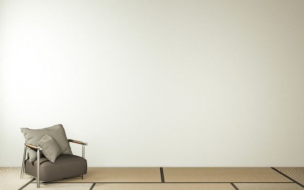 Modern zen living room interior, white sofa and decor japanese style on room white wall background.