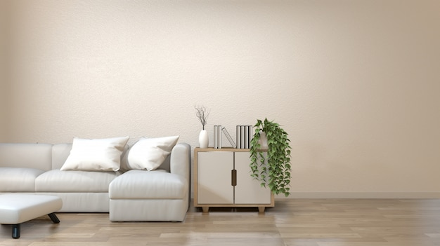 Modern zen living room with sofa and furniture japanese style.