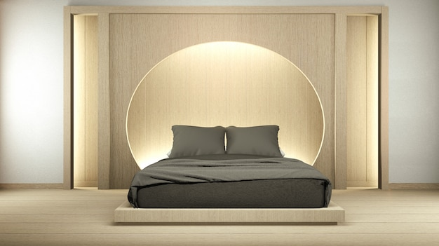 Modern zen peaceful bedroom. japan style bedroom with shelf circle wall design hidden light and decoration japanese style. 3d rendering