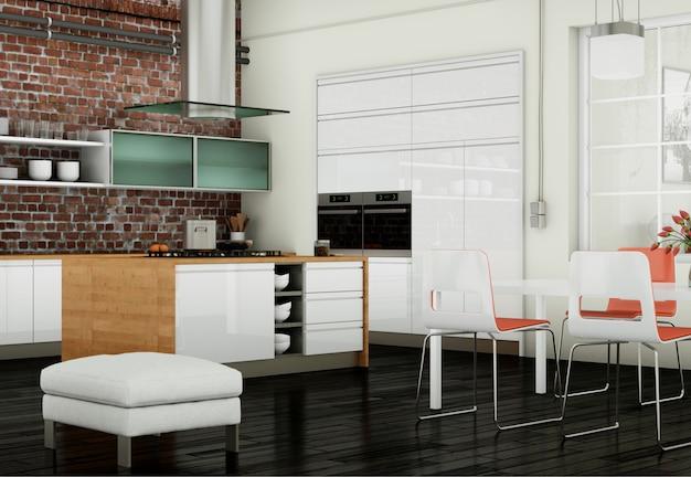 椅子とモダンなキッチンのインテリアデザイン