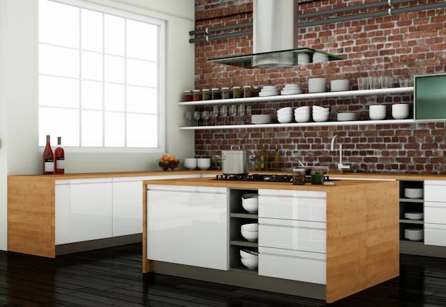 装飾が施されたモダンなキッチンのインテリアデザイン