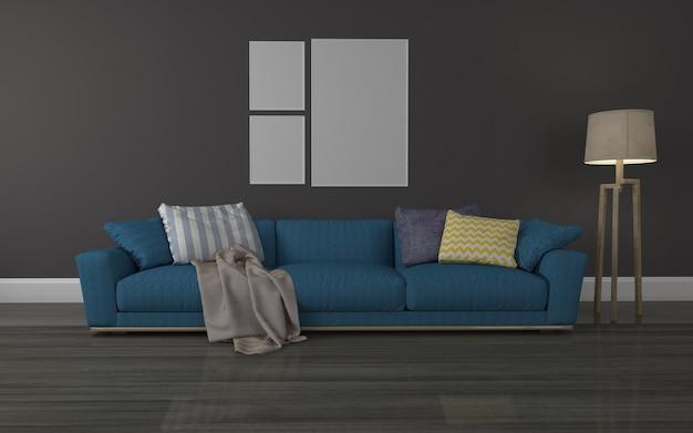 Modrenのリビングルームのインテリア3 dレンダリングされたソファのリアルなモックアップ-ランプとフレームのコラージュ
