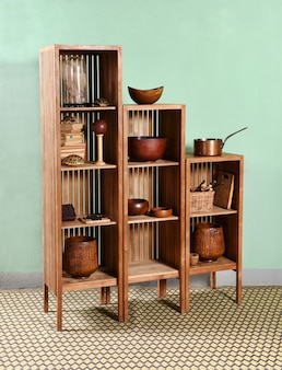 Modular wooden furniture at the kitchen