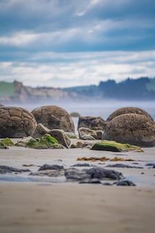Moeraki boulders in otago coast, new zealand