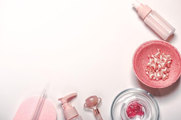 Moisturizer and skincare tools. wellness concept. gua sha stone, essential oil. natural skin care