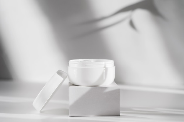 Moisturizing balm jar with copy space