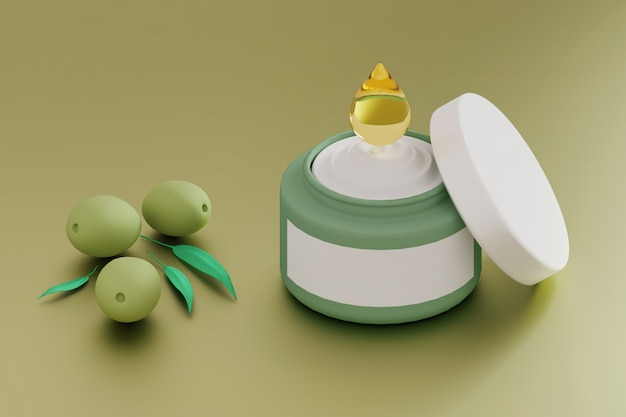 Moisturizing cream with olive oil drop and green olives
