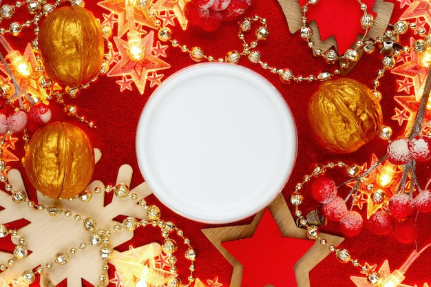 Moisturizing, nourishing, body butter on festive christmas . skincare product container mockup. womans new year present .