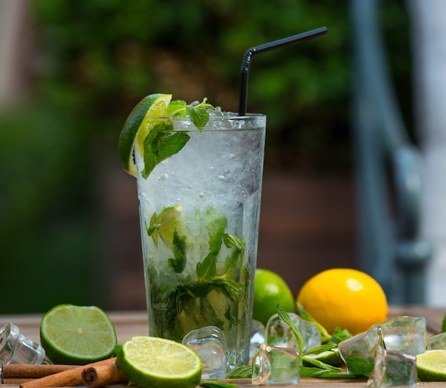 Mojito cocktail glass with ice pieces, fresh mint leaves and lime slices with tube