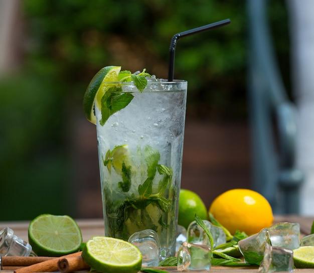 Bicchiere da cocktail mojito con pezzi di ghiaccio, foglie di menta fresca e fettine di lime con tubo