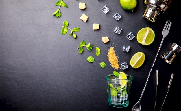 Mojito cocktail.mint, lime, ice ingredients