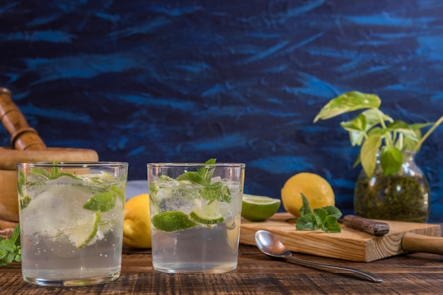Mojito cocktail with its ingredients
