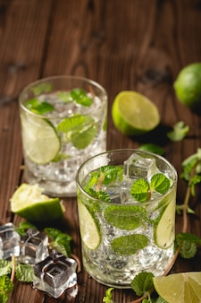 Mojito cocktail on wooden table.