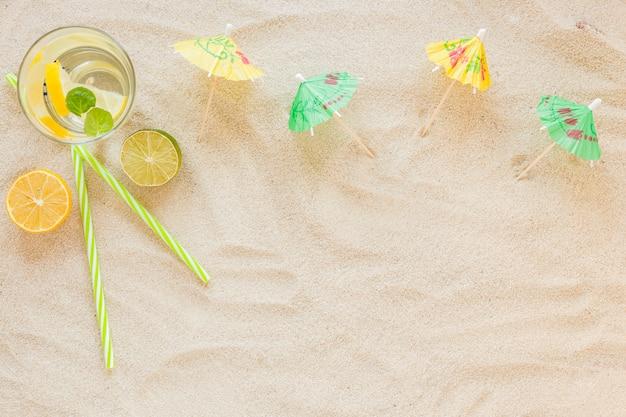 Mojito cocktails in glasses with umbrellas