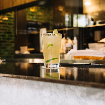 Mojito drink on bar counter