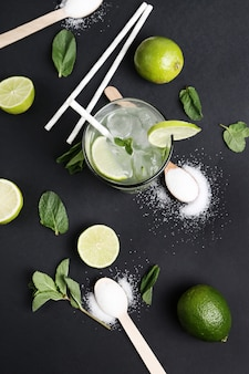 Mojito drink and ingredients