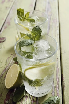 Mojito glass with ingredients