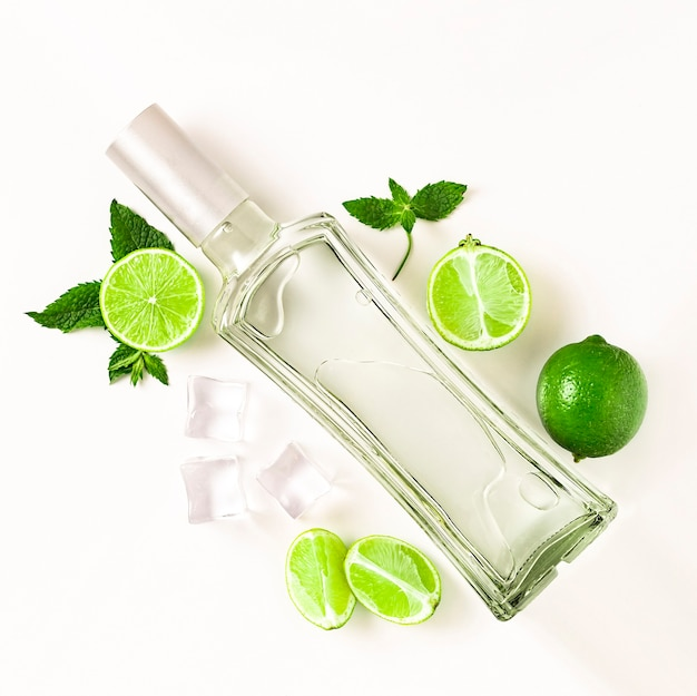 Mojito lime set, flat lay on white background. concept mojito cocktail