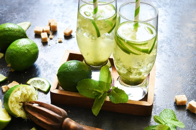 Mojito. traditional summer drink with mint, lime, gin and cane sugar.
