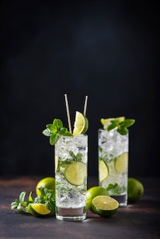 Mojito with lime, mint  and ice