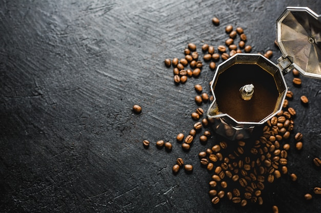 Moka coffee concept on dark