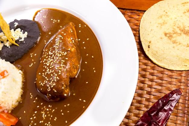 Mole poblano, tortilla and chili - mexican food