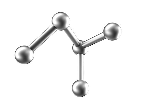 화학 분자. 흰색 배경에 3d 렌더링입니다.