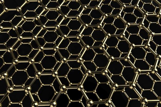 Молекула структуры золотой 3d визуализации