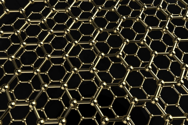 Molecule structure golden 3d render