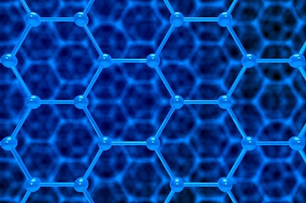 파란색 배경에 분자 구조입니다. 3d 일러스트레이션