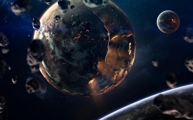 Расплавленное ядро горящей планеты. изображение глубокого космоса, фантастическая фантастика в высоком разрешении идеально подходит для обоев и печати. элементы этого изображения, предоставленные наса